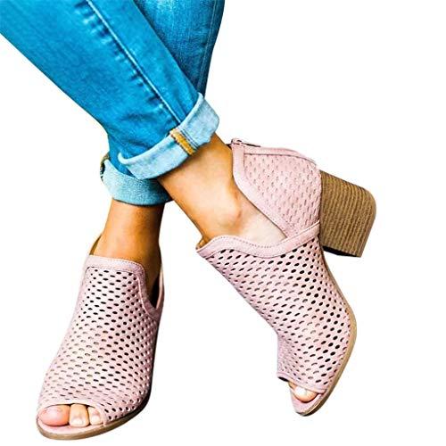 Sommer Ankle Boots für Damen/Dorical 5cm Blockabsatz Pumps Fisch Mesh Mund Hohl Reißverschluss Schuhe Atmungsaktiv Elegante Casual Arbeit Kurze Stiefel Abendschuhe Hochzeit Ausverkauf(Rosa,39 EU)
