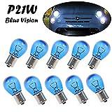 10x P21W 12V BA15s Super Weiß Original Jurmann Trade Blue Vision Ersatz Halogen Birne für Tagfahrlicht Rücklicht Bremslicht Hecklicht Blinker E-geprüft
