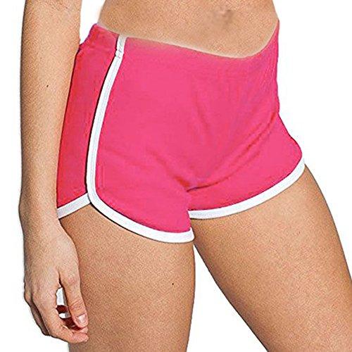 DODOING Damen Sport Shorts Retro Shorts Aktiv Yoga Shorts Hose Hot Pants für Strand Jogging mit Farbig Abgesetzen Rändern (Computer T-shirt Fitted)