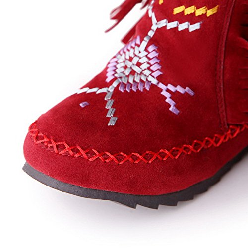 VogueZone009 Damen Gemischte Farbe Niedriger Absatz Nubukleder Ziehen Auf Stiefel Rot