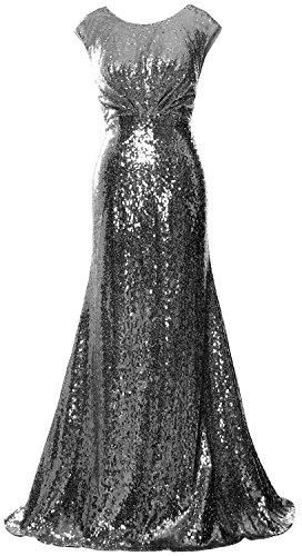 MACloth Women Long Bridesmaid Gown Cap Sleeve Sequin Formal Party Evening Dress Grau