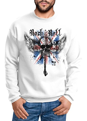 MoonWorks Sweatshirt Herren Rock 'n' Roll Wing Skull Totenkopf London 72 Union Jack England Flagge weiß XL -