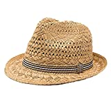 Paglia Cappello Jazz Trilby Padre-figlio Bimbo Bambino Cappellino Cappelli Sole Cachi,S