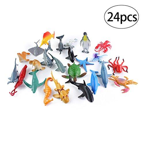 TOYMYTOY Juguetes de animales marinos, paquete de 24 juguetes de baño de criaturas plásticas no tóxicas de mar Set para niños, animal de mar Cake Topper