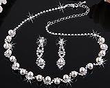 Skyllc® Wunderschöne Hochzeit Braut Prom Strass Kristall Faux Perlenkette Ohrringe Schmuck Set