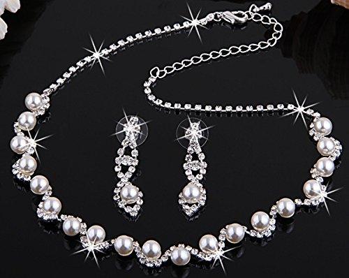 Skyllc® Hermosa boda baile nupcial collar del Rhinestone cristal imit