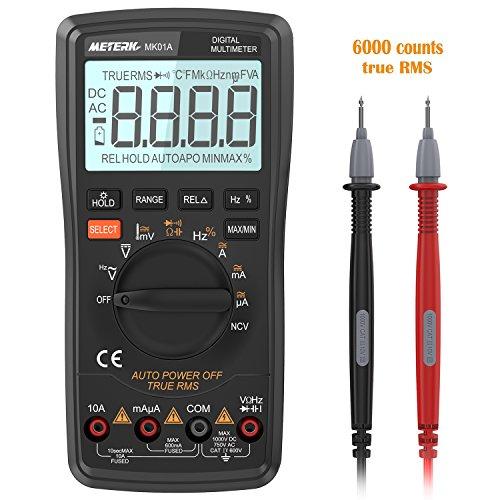 Multimeter Meterk digitaler Multimeter 6000 Counts Multi Tester True RMS Auto Range NCV-Funktion großer LCD-Bildschirm mit Hinterbeleuchtung