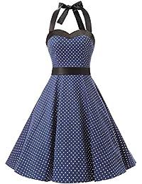 Dresstells Version3.0 Vintage 1950's Audrey Hepburn pin-up robe de soirée cocktail style halter années 50 à pois