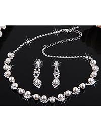 Skyllc® Hermosa boda baile nupcial collar del Rhinestone cristal imitación perla y aretes joyería conjunto