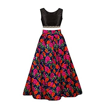 Sky Global Girl's Banglori Silk Semi -Stiched Lehenga Choli With Velvet Blouse Piece( 8 to 12 Year)