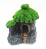 takestop® Kleine Haus Hütte Felsen 10.5x 7.5x 10.5cm Pagoda Garten Unterwasser Ornament für Aquarium Dekoration Deko Stein