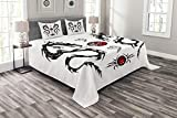 ABAKUHAUS Drachen Tagesdecke Set, Tribal Tattoo Asiatisch, Set mit Kissenbezügen Sommerdecke, für Doppelbetten 264 x 220 cm, Weiß Schwarz Rot