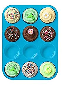 Bessmate Silicone Muffin Tray -12 Cups Blue Mold & Baking Tray- Reusable, Non-Stick Bakeware For Cupcakes and Cakes ,Dishwasher /Microwave Safe
