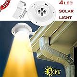 MMLC Neue 4 LED Solarbetriebene Gutter Licht Outdoor/Garten/Hof/Wand/Zaun/Pathway Lampe Beleuchtung Lichter (Weiß)