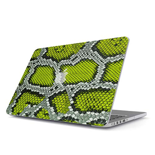 bel Für MacBook Air 13 Zoll Modell: A1466 / A1369 Neongrün Grün Schlange Exotisch Neon Green Snake Skin Print Serpent Pattern ()