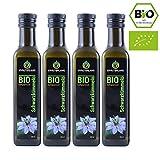 Kräuterland Bio Schwarzkümmelöl, Bio-zertifiziert, 4x 250ml, gefiltert,...