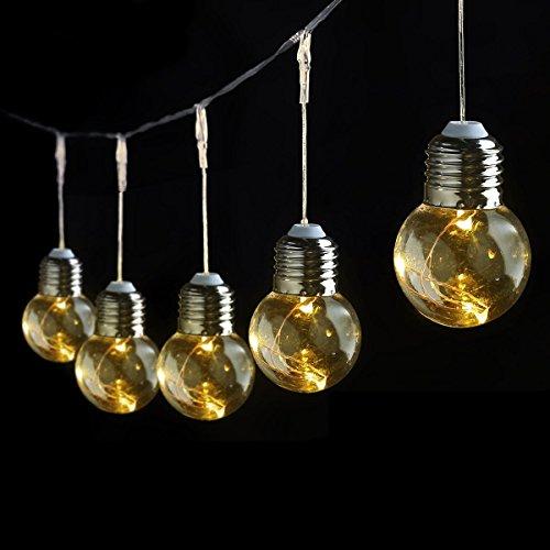 LE Birne Lichterkette 6M gelbwarmweiß 4.5w Kugel Kupferdraht Beleuchtung Deko für Party Weihnachten Dekolampe 25 Birnen (6 Meter Stecker)
