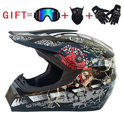 ZXDHELMET Motorcycle Helm Dirt Bike Cross Helme für Motorrad Crossbike Off Road Enduro Sport mit Handschuhen Storm Maske und Gläser,Pirate,L58~59CM