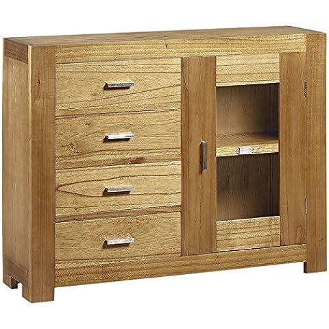 Moycor Natural - Consola, 4 cajones, 1 puerta, 105 x 27 x 80 cm