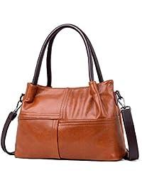 73b619506f1 Yishishi Bolso de asa de Cuero para Mujer Bolsa de Mensajero Bolsa Madre  Bolso de Mano