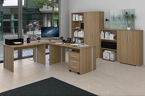 8-teiliges Büromöbel-Set, Arbeitszimmer mit 1 Eckschreibtisch, 2 Aktenschränken, 2 Regalen und 1 Rollcontainer im Dekor Buche