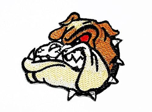 (rabana braun Head Pitbull Bulldog Hund Cartoon Kids Kinder Cute Animal Patch für Heimwerker-Applikation Eisen auf Patch T Shirt Patch Sew Iron on gesticktes Badge Schild Kostüm)