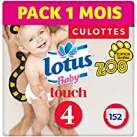 Lotus Baby Touch - Couche Culotte Taille 4 (9-14 kg) Pack 1 mois (152 couches Culottes)