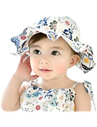 GZMM Baby Girls Sun Protection Hat Cotton Breathable Material UPF50+ d4190fe7e28c