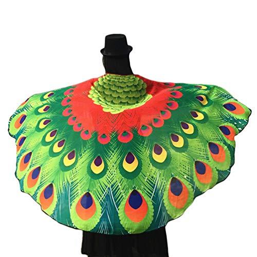 Kairunn Damen Erwachsene Schmetterlingsflügel Schals Nymph Pixie Poncho Karneval Schmetterling Kostüm Faschingkostüme Roter Pfau 197 * 125cm