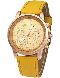 SODIAL(R) Reloj de pulsera de correa de cuero artificial (amarillo)