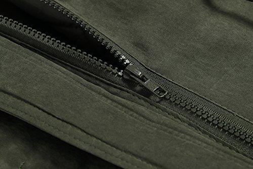 ZEARO Parka Damen Übergangsjacke Winter Jacke Kapuzen Fleecejacket Trenchcoat Mantel mit Kapuze Gr.S-XXL Armeegrün