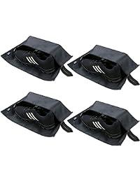 Grands sacs à chaussures de voyage, sac de rangement de toilette de glissière, sac cosmétique d'organisateur de voyage, sacs à chaussures imperméables pour le placard, paquet de 4, noir