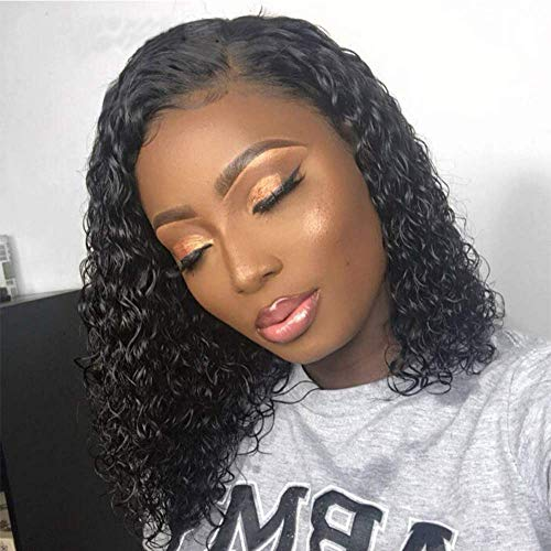 Maxine Brazilian Lace Front Wigs Deep Curly Wave Human Hair Pre-Plucked Natural Color Deep Curly Human Hair Wig 130% Density Pre-Plucked with Adjustable Straps 10 inch