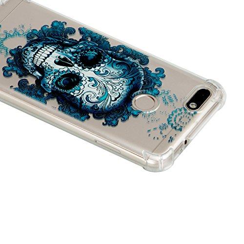Coque Huawei Y6 Pro (2017) / Enjoy 7, Coque Huawei Y6 Pro (2017) Étui Silicone Transparente, Surakey [Silicone Renforcé Antichoc] Souple Housse Téléphone Couverture Protection en TPU Caoutchouc avec Absorption de Choc Bumper Semi Hybrid Crystal Clair Etui Housse pour Huawei Y6 Pro(2017) / Enjoy 7, Motif Colorés Imprimé Mince Housse Étui Protection Anti Choc Doux Gel Skin Case Cover Coque pour Huawei Y6 Pro(2017) / Enjoy 7 (Crâne)