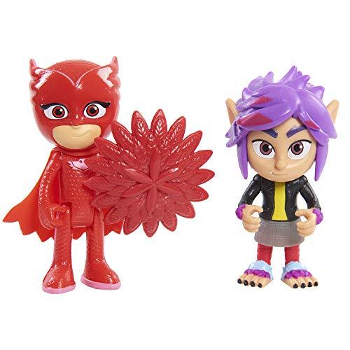 PJ Masks 95262  Pack 2 Figuras con Luz Villano Buhíta Y Wolfie Rip (Bandai 95262)