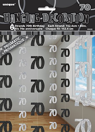 ko 1.52 m, glitzernd, zum 70. Geburtstag, zum Aufhängen, 6 Stück (70 Geburtstag Party)