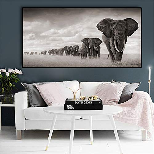 Rjjwai África Negra Elefantes Animales Salvajes Pintura De La Lona Escandinavia Carteles...