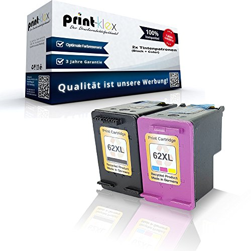 Preisvergleich Produktbild 2x Kompatible Tintenpatronen HP 62 XL OfficeJet 8045 OfficeJet 252Mobile OfficeJet 250Series OfficeJet 202C OfficeJet 201 C2P05AE C2P07AE HP62 XL Schwarz + Farbig XXL Color Quantum Serie