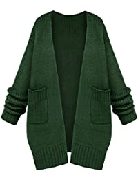 c001dbc7f954fe OMUUTR Damen Strickjacke Cardigan Strick Mantel Beiläufig Herbst/Winter  Oversize Langarm Pullover Pulli Sweatshirt Jacke Outwear…