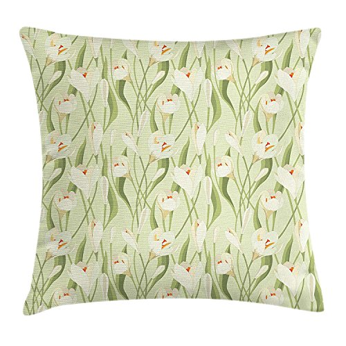 Yinorz Garden Art Throw Pillow Cushion Cover, Spring Flowers Bouquet Crocuses with Healthy Fresh Petals Botanical, Decorative Square Accent Pillow Case, 18 X 18 inches, Pale Green Cream Orange - Orange Flower Body Cream