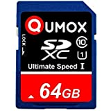 QUMOX SD XC 64 Go 64Go SDXC Class 10 UHS-I Secure Digital 64GB Carte Memoire HighSpeed Write Speed 50MB/s read speed upto 80MB/s