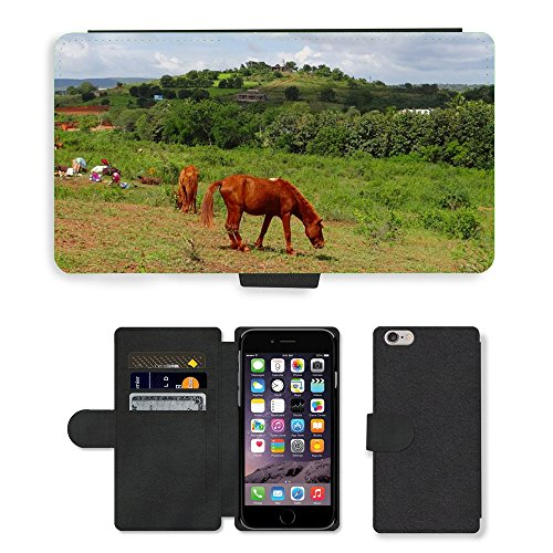Just Mobile pour Hot Style Téléphone portable étui portefeuille en cuir PU avec fente pour carte//m00138484 Poney Pack animal lambadi Nomads//Apple iPhone 6 Plus 14 cm
