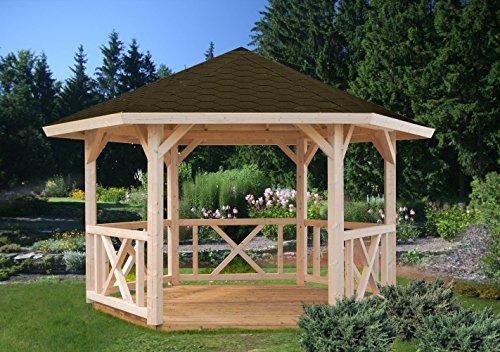 Pavillon Sorbus S13 naturbelassen - 120 x 120 mm Pfostenstärke, Grundfläche: 9,90 m², Zeltdach