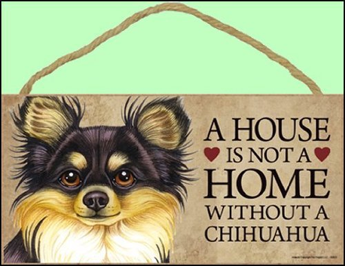 e without Chihuahua (Long haired, black and tan) - 5 x 10 Door Sign by SJT. ()