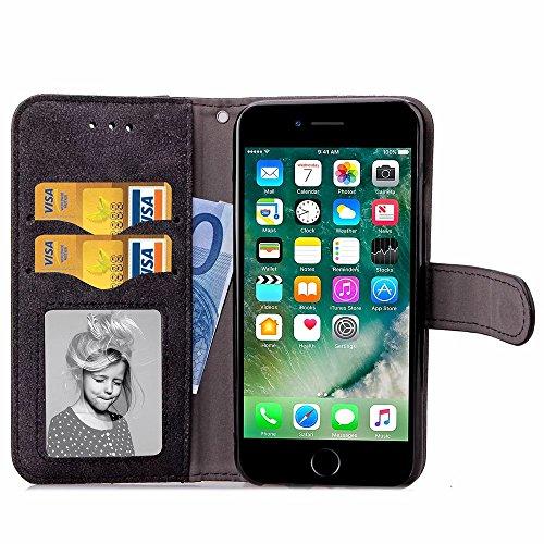 Embossed Blumen Retro Folio Premium PU Ledertasche Magnetverschluss Wallet Stand Stil Handschlaufe Case Cover für iPhone7 ( Color : Black , Size : IPhone 7 ) Black