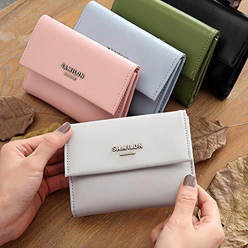 Woolala Grils Piccolo Portafoglio Trifold Soft Leather Cash Credit Cards Organizzatore Per Titolare Di Carta Di Identità Borsa Corta, Grigio Pink