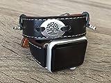 Schwarz Leder Vegan doppelt gewickelt Band für Apple Watch Serie 3(42mm Größe) Umweltfreundlich Zubehör handgefertigt Armband Strap mit Silber Metall Drei des Lebens Spirituelle Teller Charme