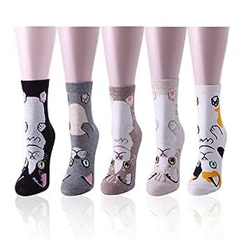 HapiLeap Womens Cute Dog Cat Animal Crew Socks Colorful Novelty Cotton Socks (Cat (5Pcs))