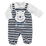 Disney Baby Strampler Jungen grau | Motiv: Winnie Pooh | Baby Schlafanzug im Zweiteiler-Look für Neugeborene & Kleinkinder | Größe: Frühchen (44/50)