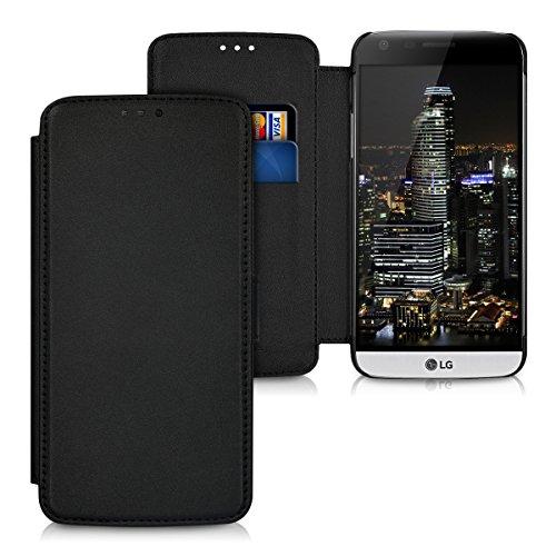 kwmobile Slim Wallet Case für LG G5 / G5 SE - Kunstleder Tasche Flip Hülle Kartenfach Magnet Cover in Schwarz